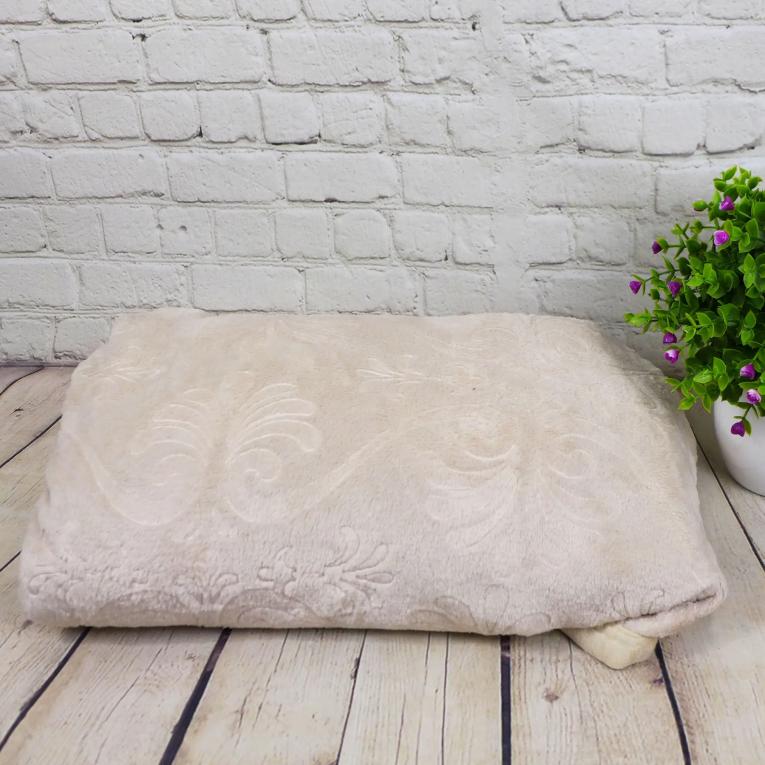 Флисовый плед на полуторную кровать Koloco с печатью светло - бежевый