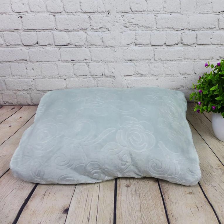 Флисовый плед на двуспальную кровать Koloco с печатью светло - мятный 180 на 220