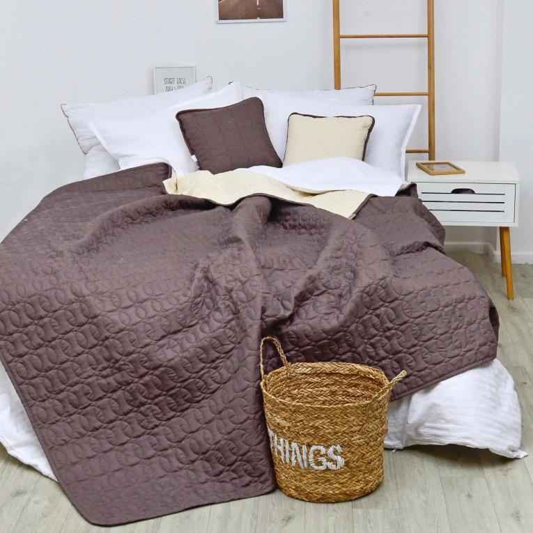 Евро покрывало на кровать в спальню Вилюта Дуэт шоколадно - ванильное