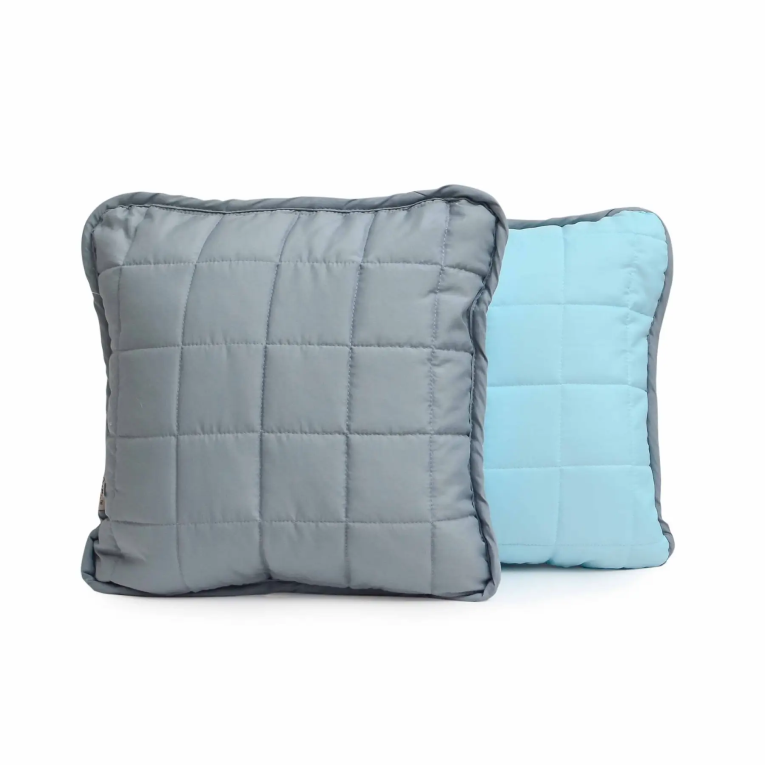 Декоративная подушка на кровать Вилюта Дуэт 40х40 серо - голубая