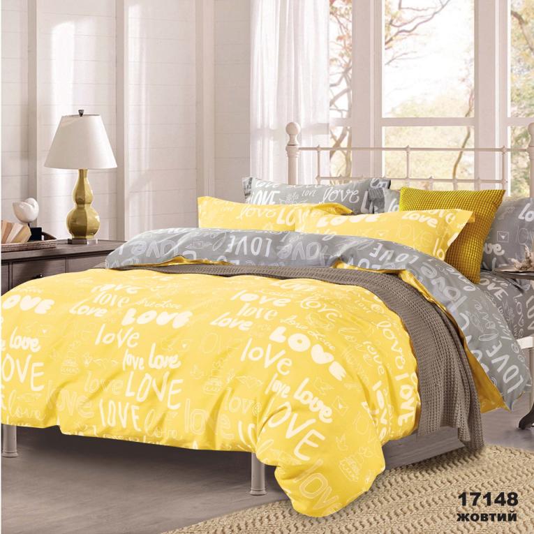 Желтое постельное белье евро ранфорс Вилюта 17148