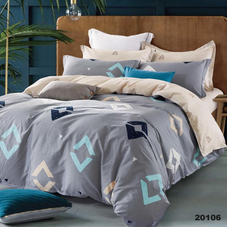 Комплект серого постельного белья Вилюта ранфорс 20106 абстракция