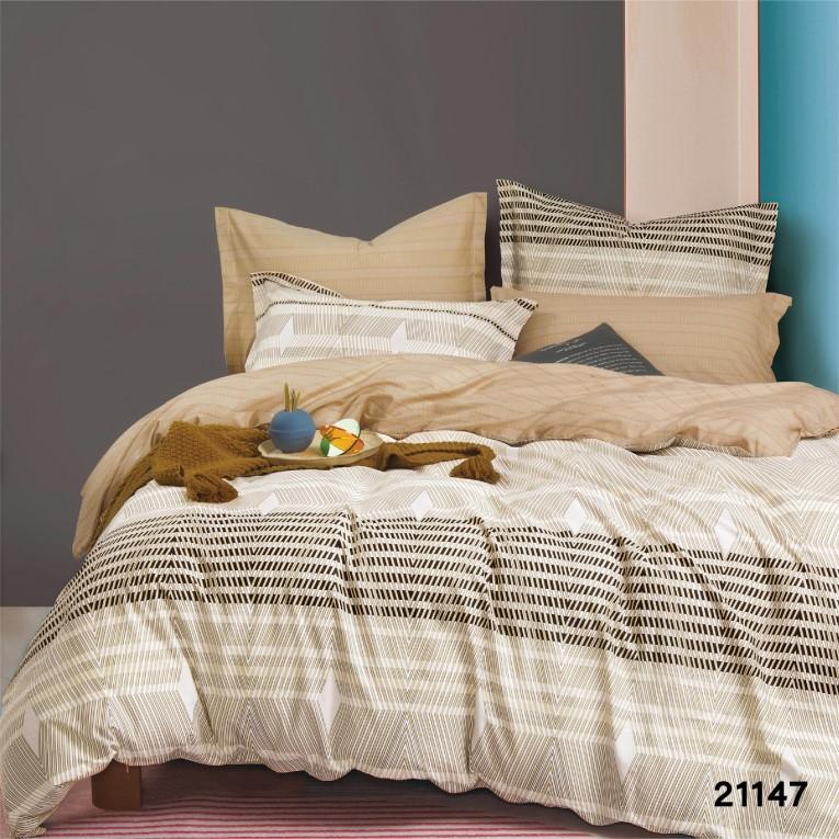 Комплект серого постельного белья ранфорс 21147 семейное