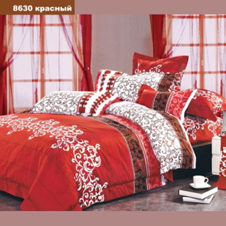 Сімейний комплект червоного кольору Вілюта 8630 з візерунком