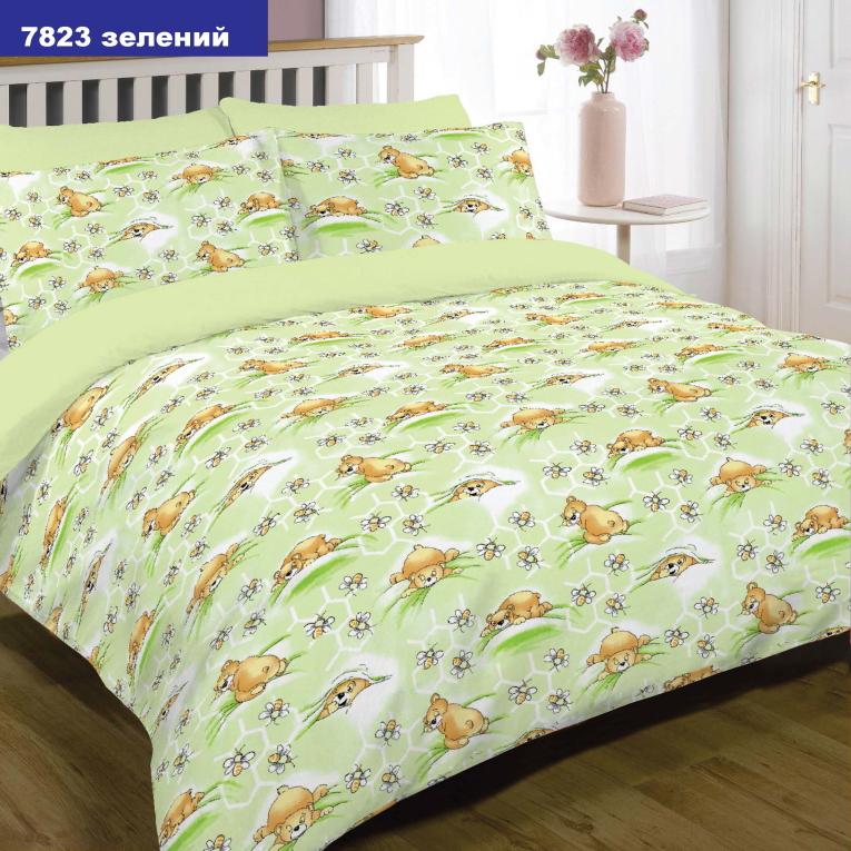 Сатиновая детская постель 7823 зеленая