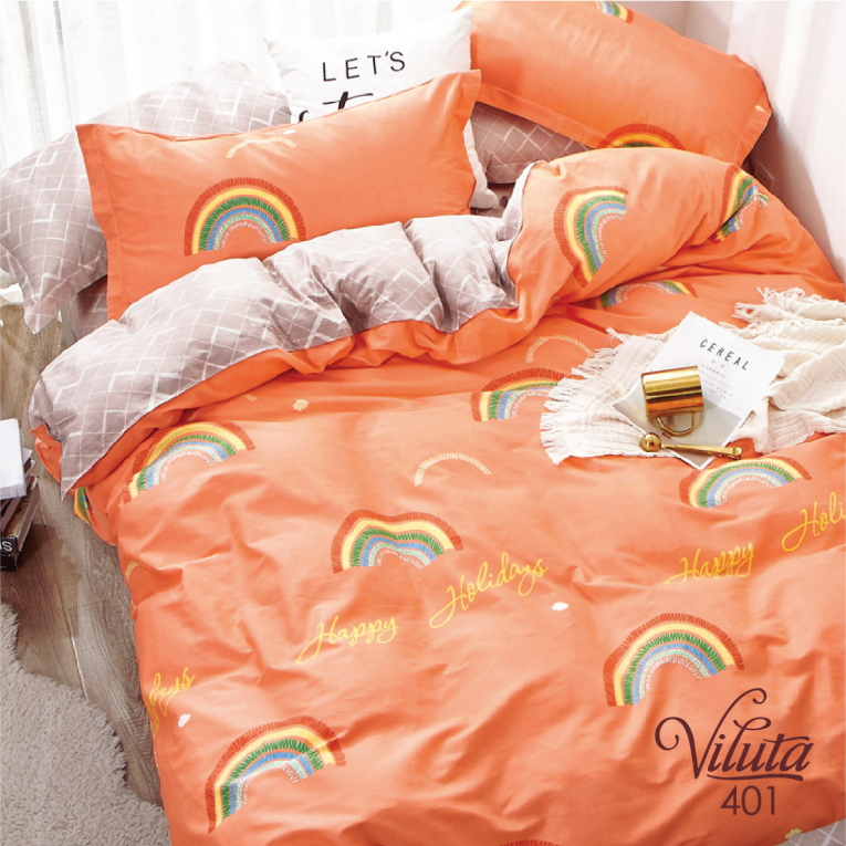 Комплект на кровать подростку 401 Вилюта оранжевого цвета