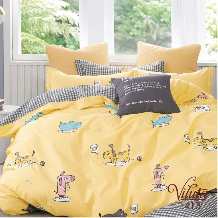 Сатиновое детское желтое постельное белье в кроватку 413
