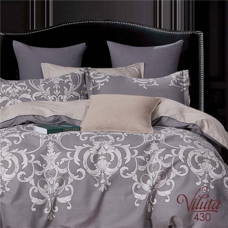 Набор Серое постельное белье с вензелями 430 satin