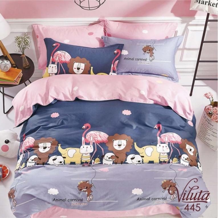 Синее постельное белье с фламинго розовым 445