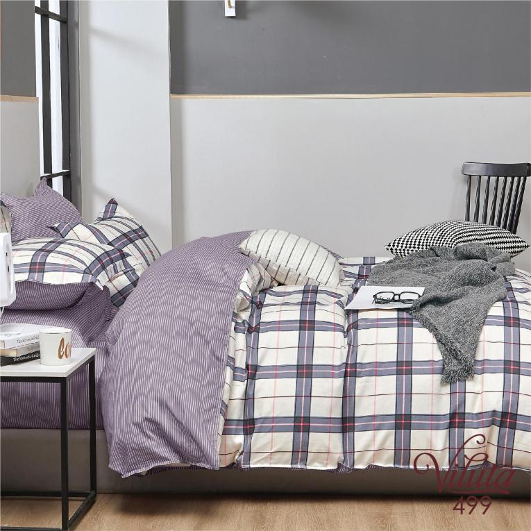 Полуторный комплект постельного белья в клетку 499 Вилюта сатин твил
