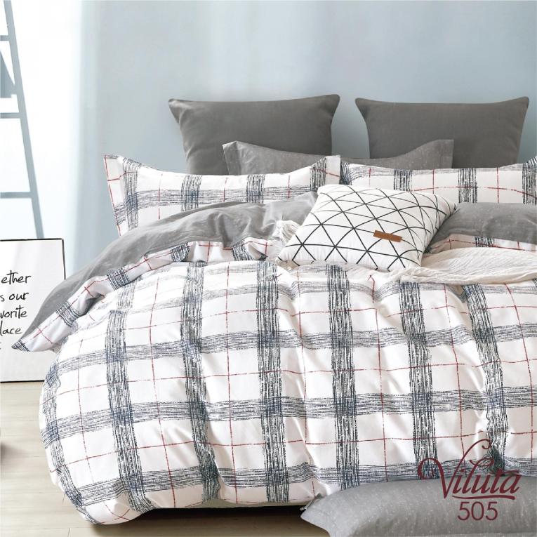 Полуторный комплект постельного белья в клетку 505 Вилюта сатин твил