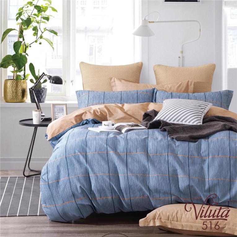 Двуспальный комплект постельного белья сатин Вилюта 516