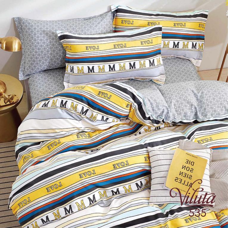 Двуспальный комплект постельного белья сатин Вилюта 535