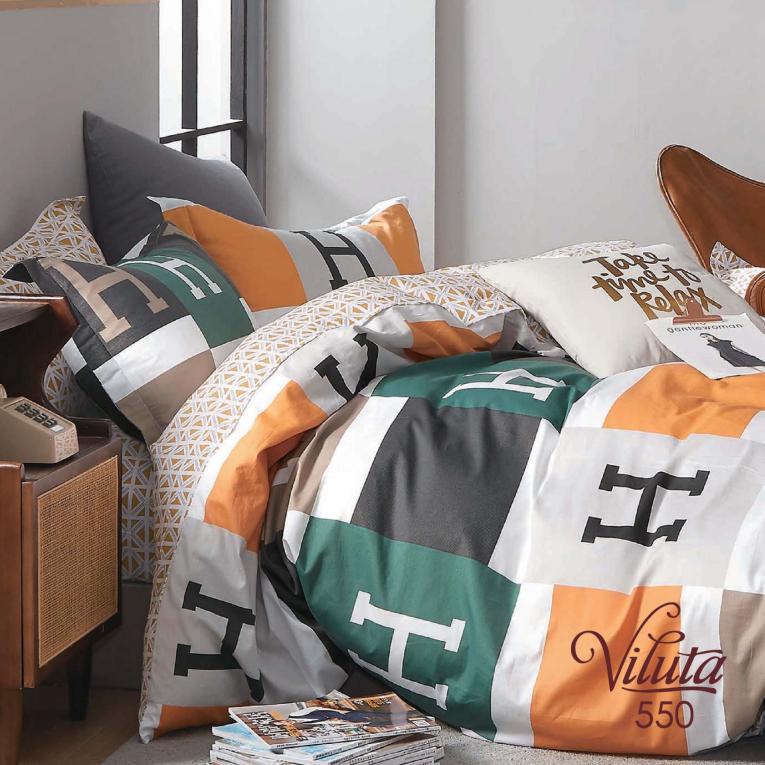 Двуспальный комплект постельного белья сатин Вилюта 550