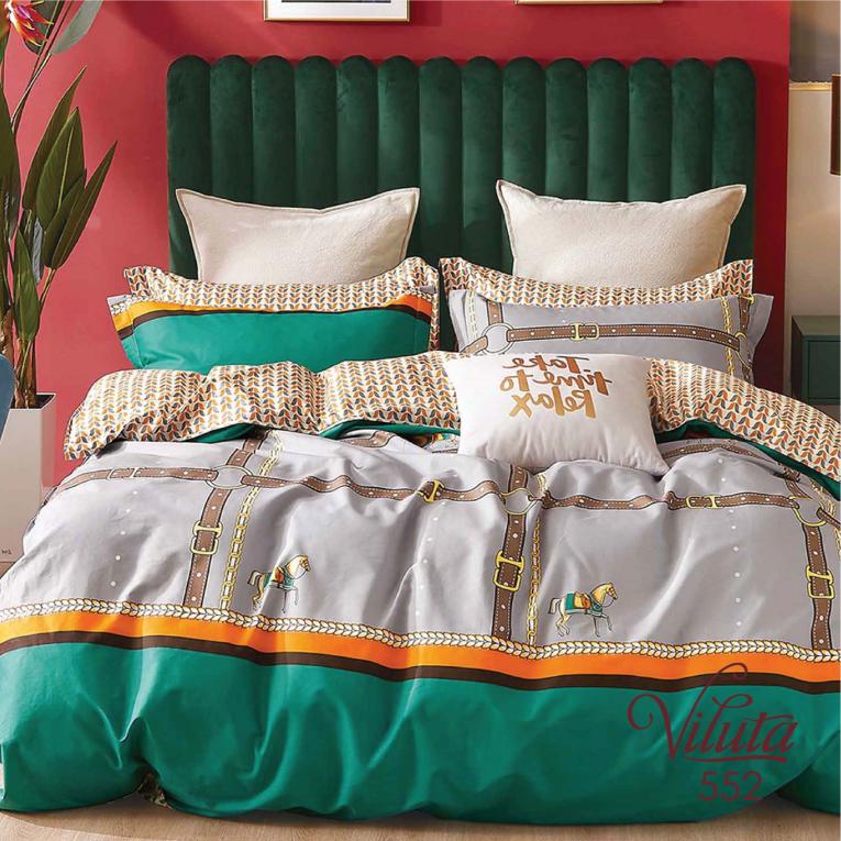 Двуспальный комплект постельного белья сатин Вилюта 552