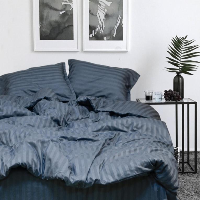 Комплект полуторное постельное белье страйп сатин Вилюта 67 Тиаре черный