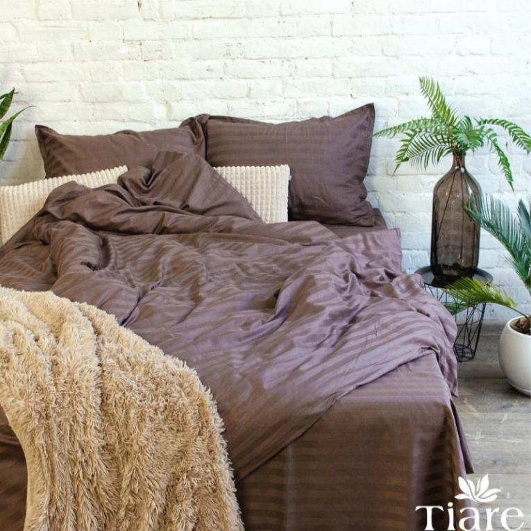Элитное постельное белье страйп сатин Вилюта 77 коричневое однотонное