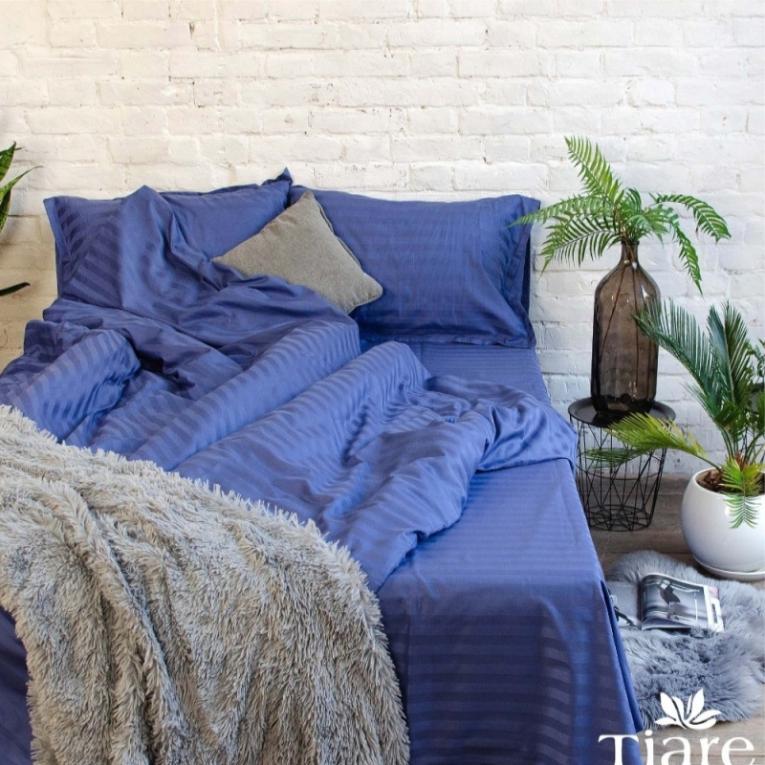 Двуспальное синее постельное белье сатин страйп Вилюта Тиаре 78