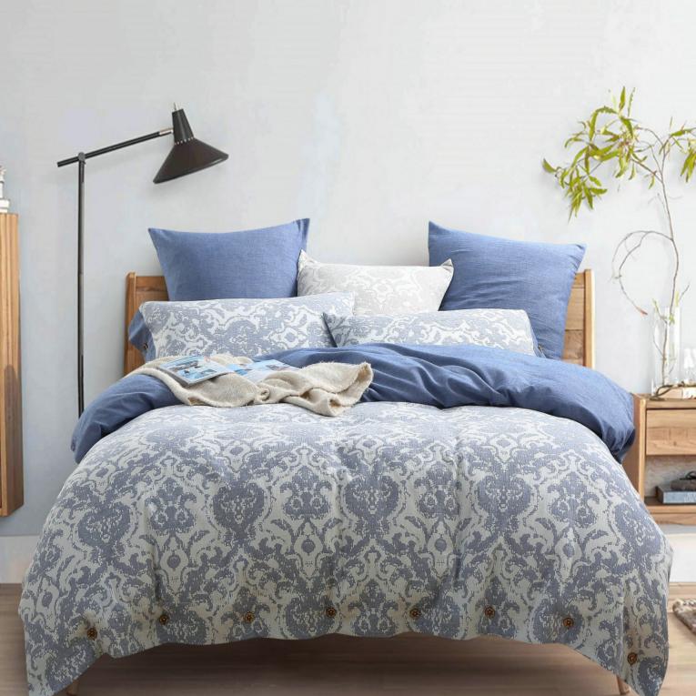 Синее постельное белье Вилюта евро вареный хлопок Wash Тиаре 4