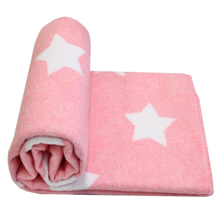 Розовое байковое одеяло детское из хлопка Влади Звезды